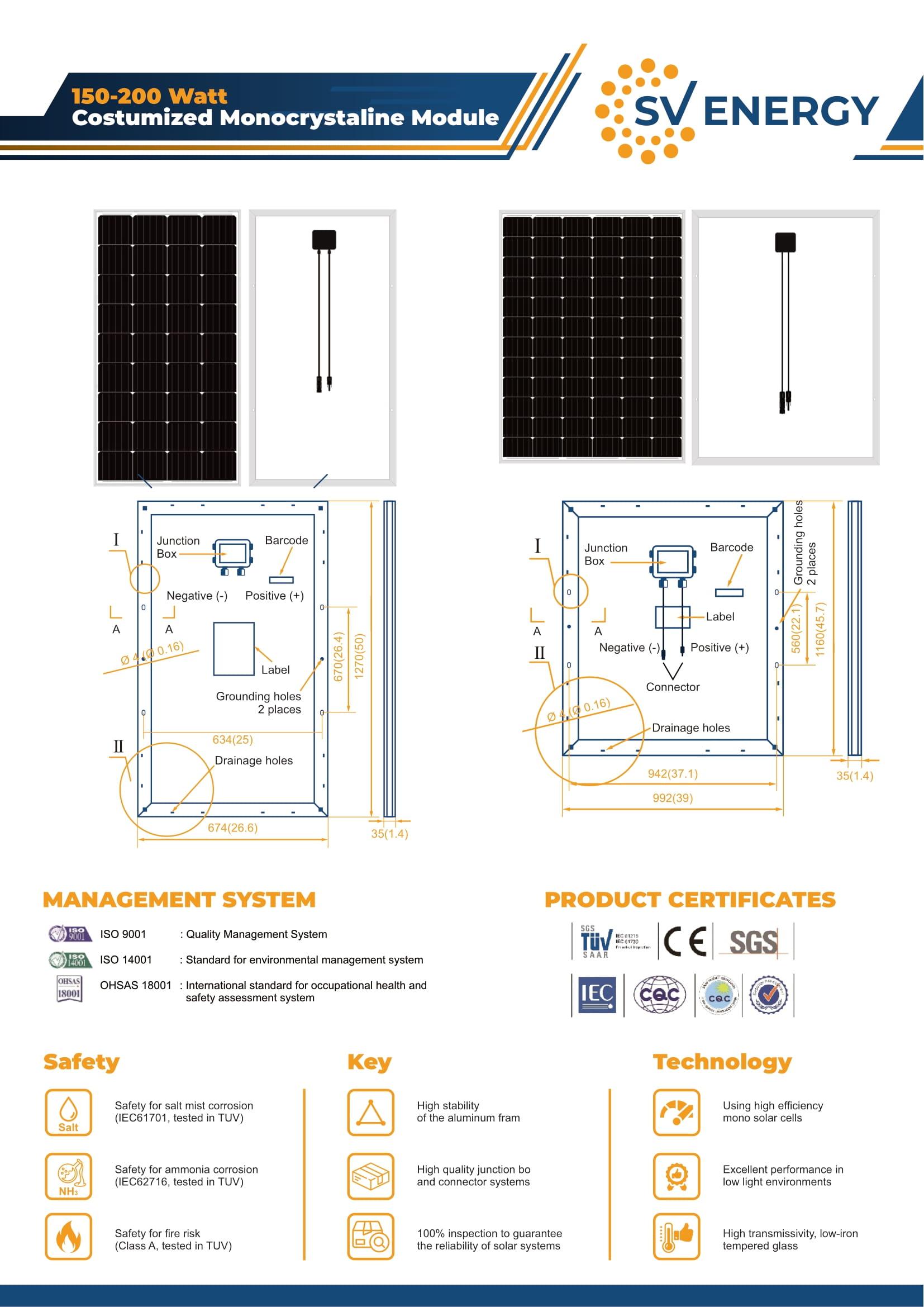 Panel Surya 200wp SV ENERGY